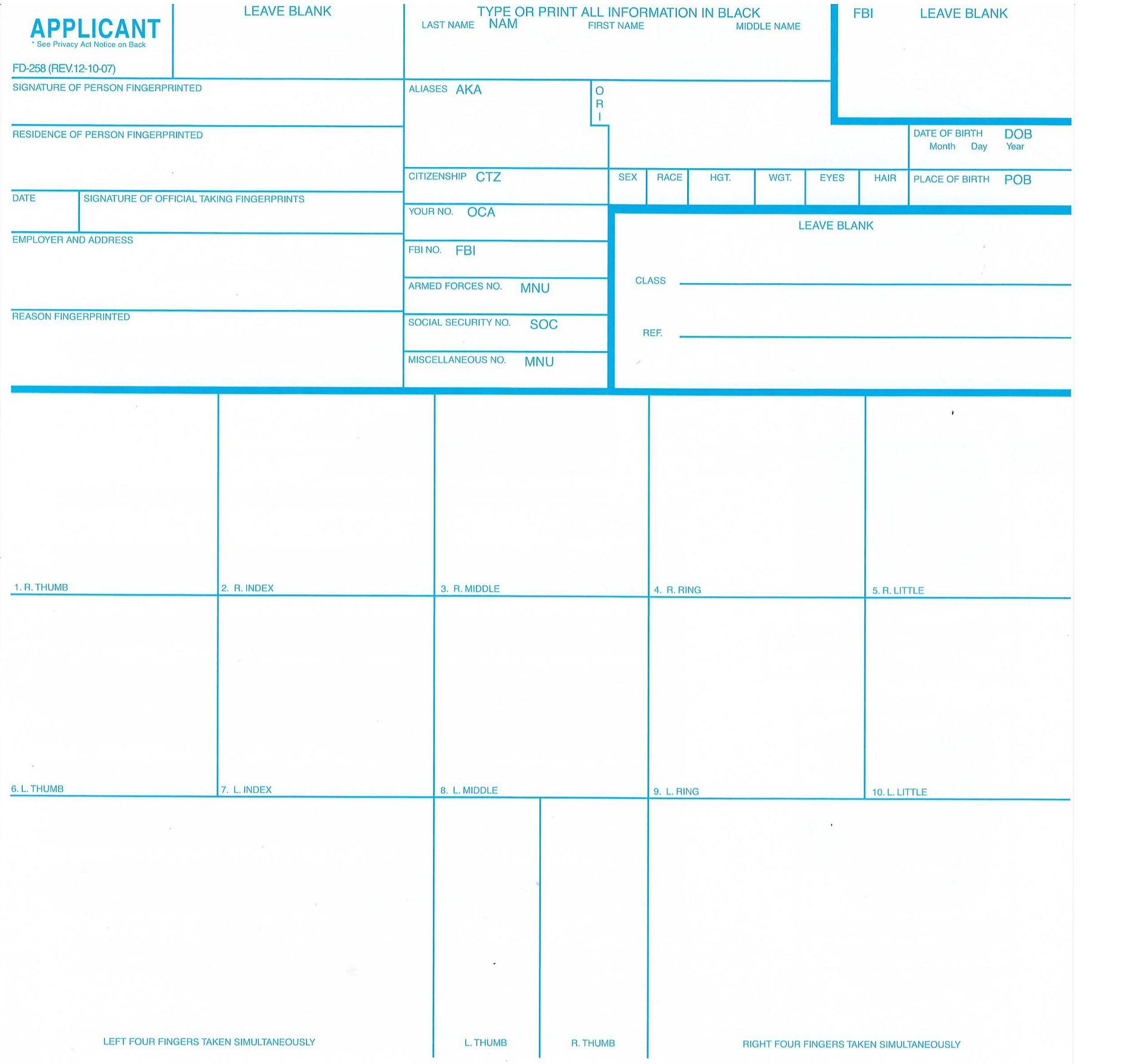Fingerprint Cards – FBI Form FD-258, 10 pack - LIVESCAN Fingerprinting
